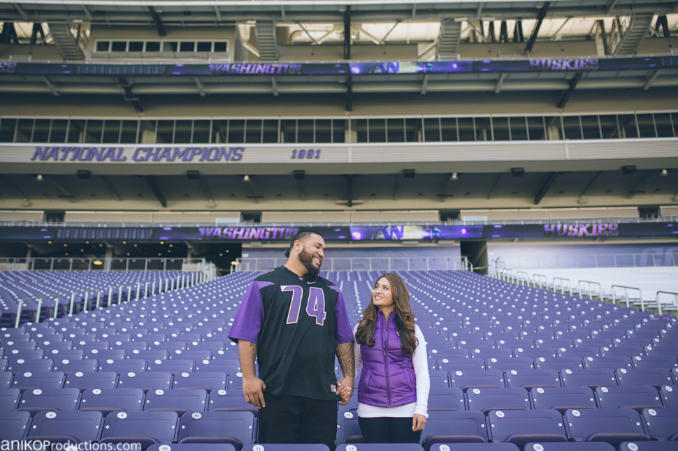 husky-seattle-engagement-photos-football-university-washington-campus2