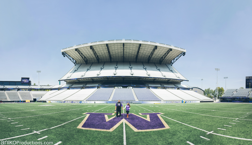 husky-seattle-engagement-photos-football-university-washington-campus5