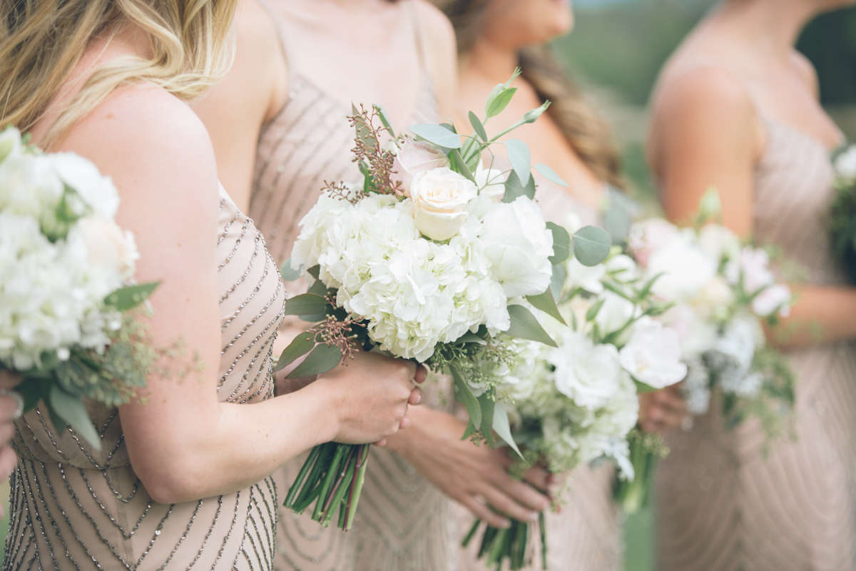 close up of bridesmaids bouquets