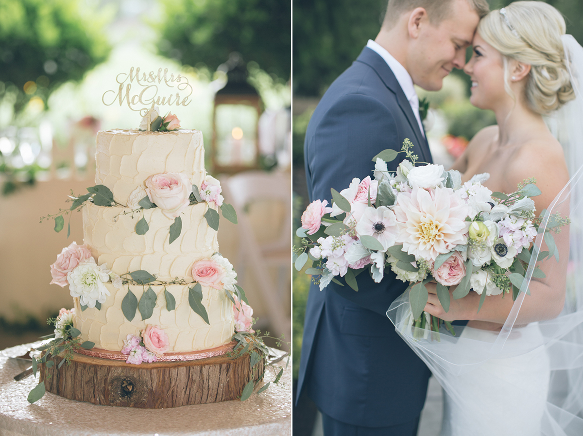 rustic wedding cake with wild flowers