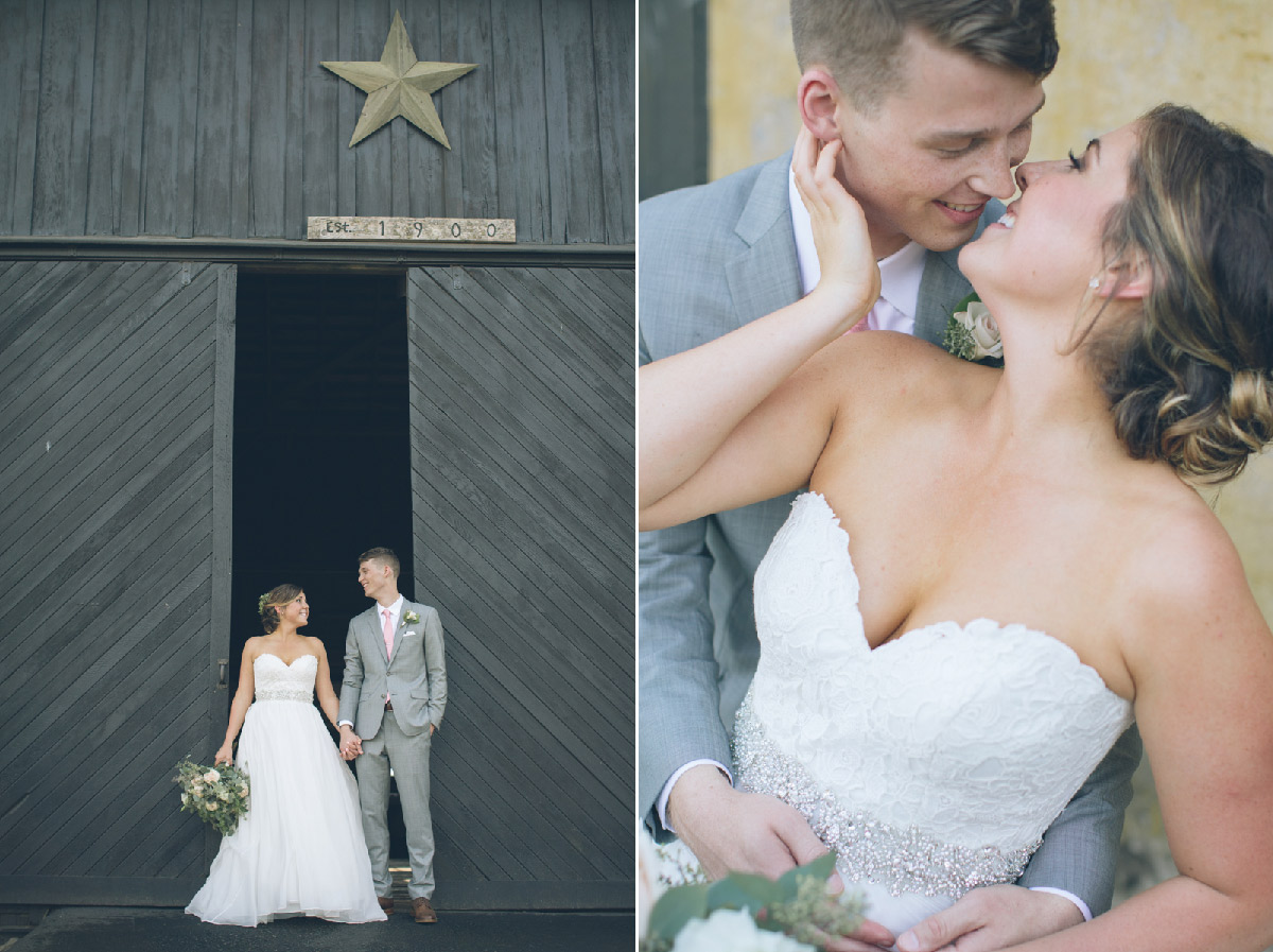 bride and groom kissing in barn