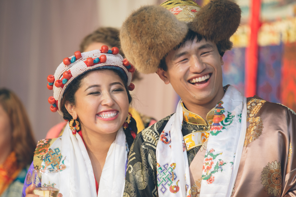 traditional tibetan wedding bride and groom