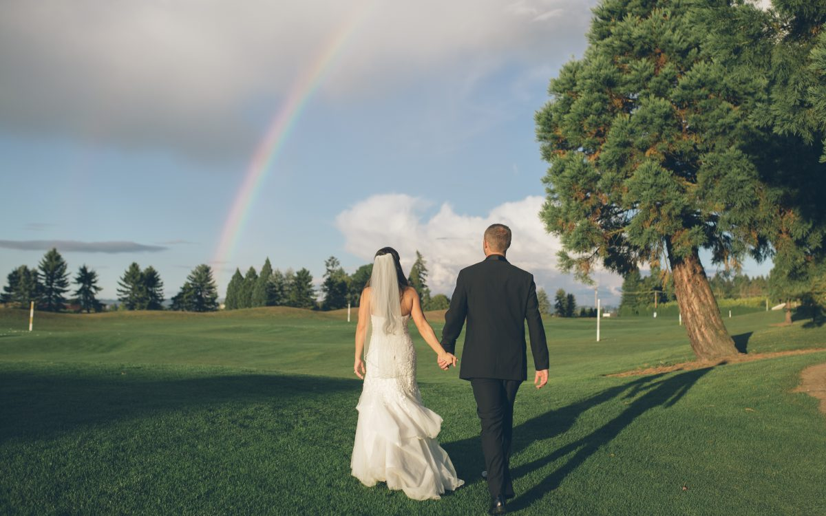 rainbow on wedding day