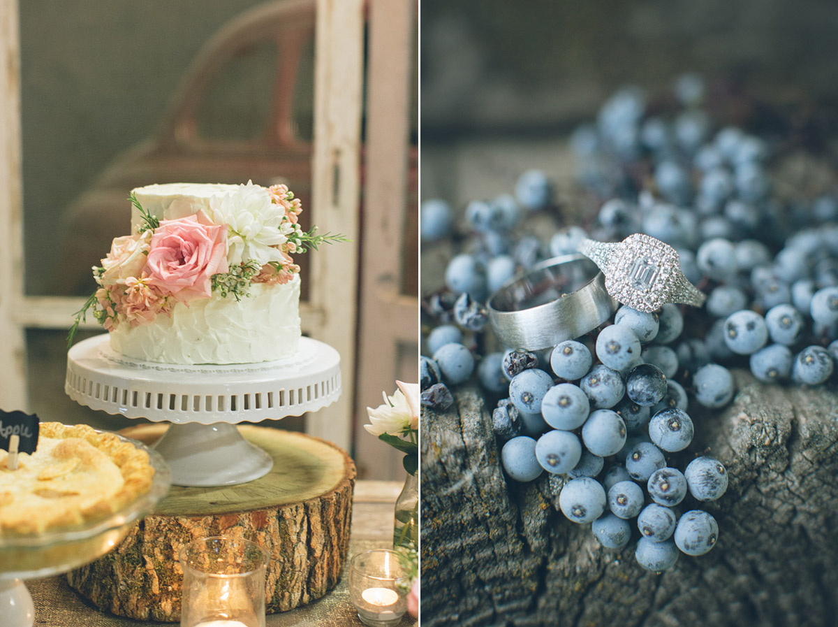 barn wedding cake with blueberries