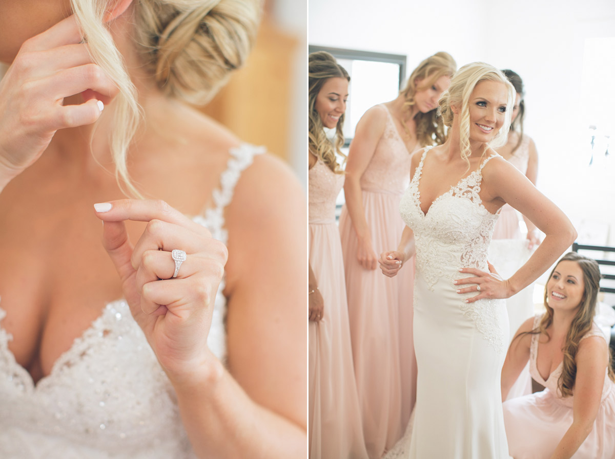 stunning blonde bride getting ready with bridesmaids
