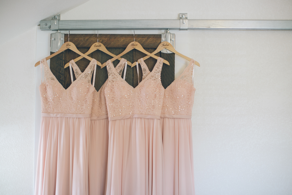salmon colored barn wedding bridesmaids dresses