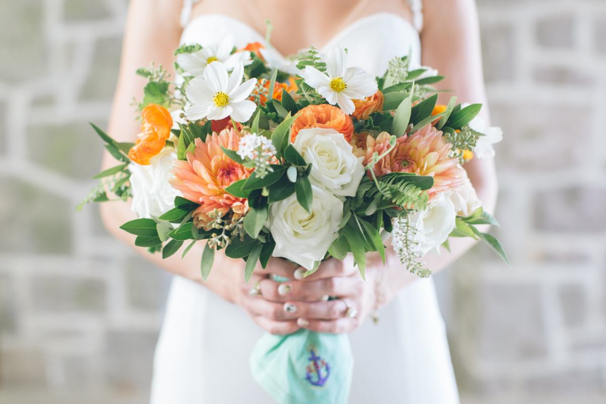 bridal bouquet with anchor