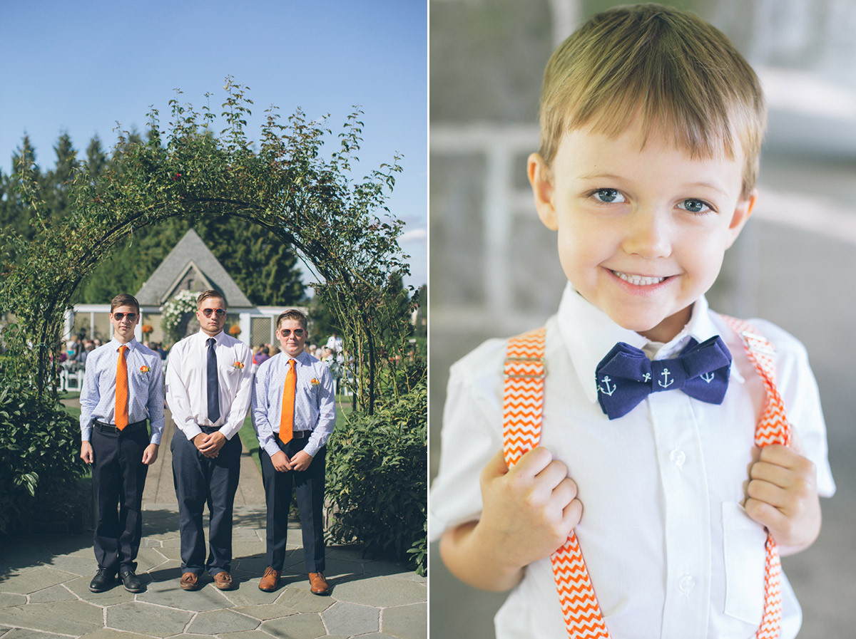 cute ring bearer in blue bow tie with sailor anchor