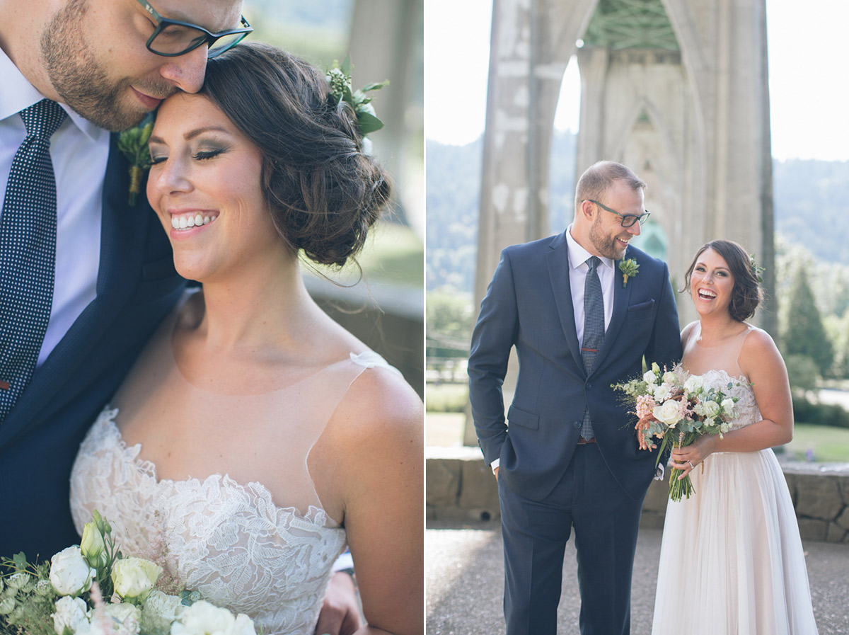 bride and groom pictures at cathedral park in portland