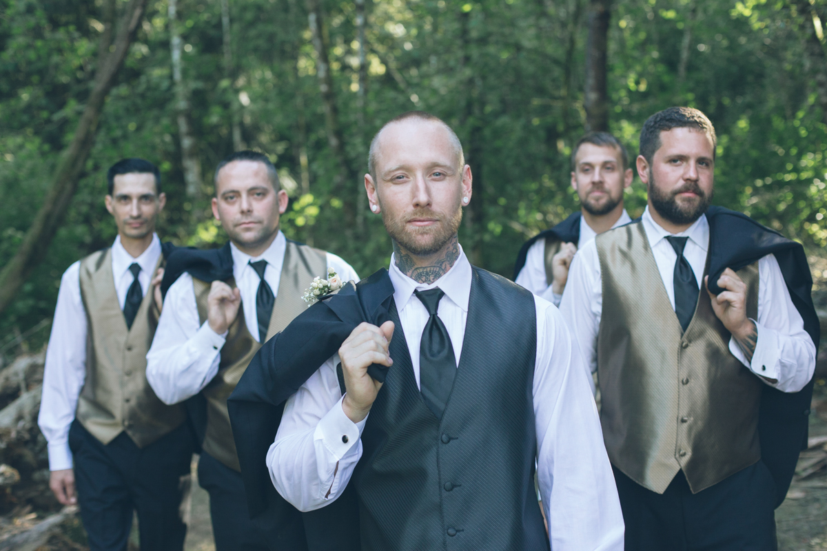 groom and groomsmen with tattoos