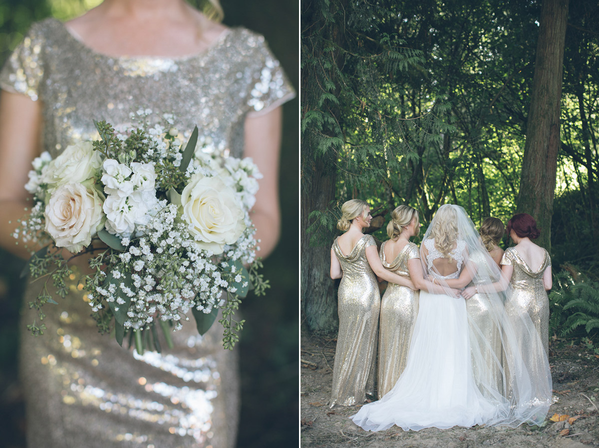 gold and silver bridesmaids dresses