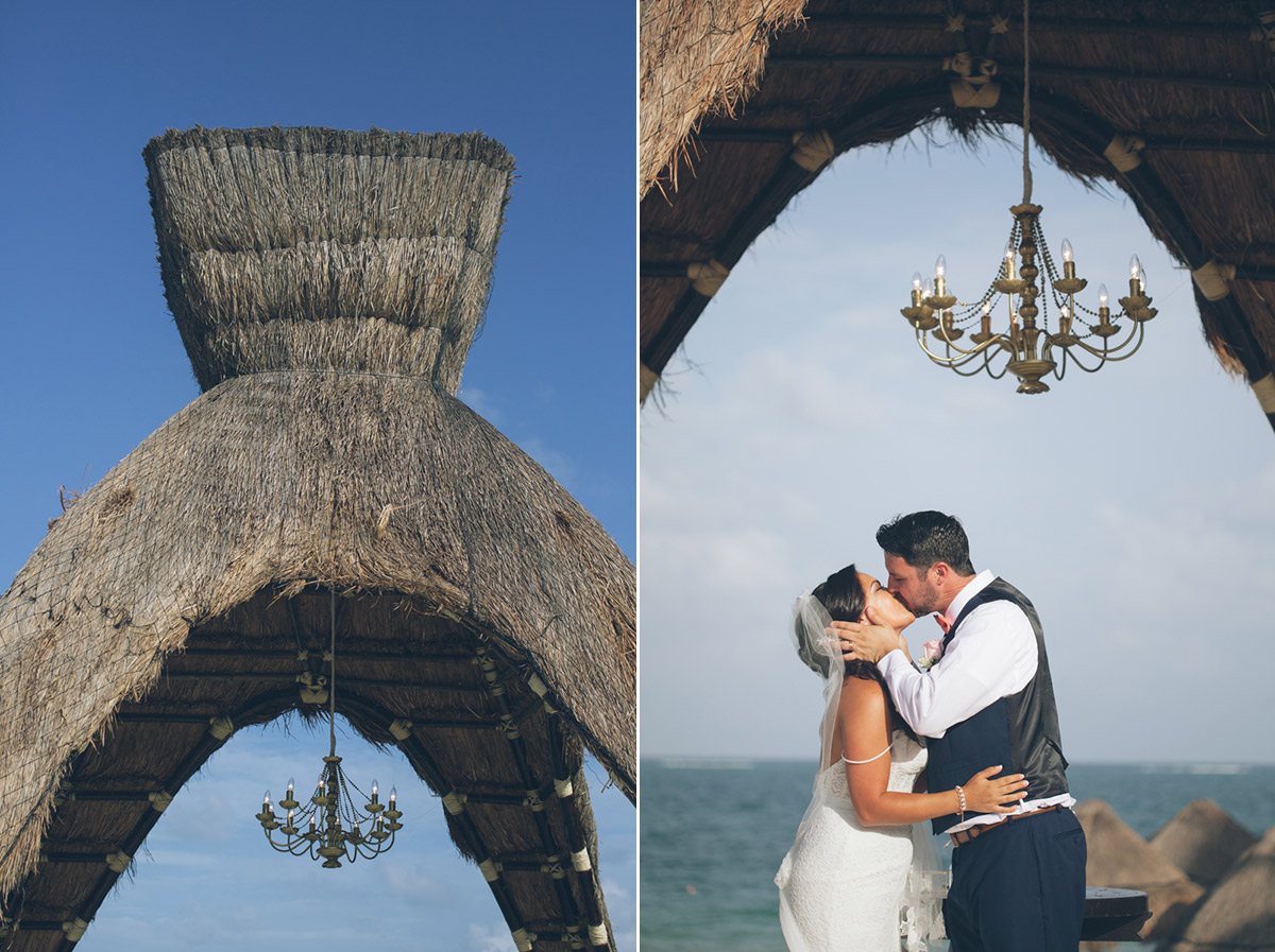 mexico wedding bride and groom first kiss