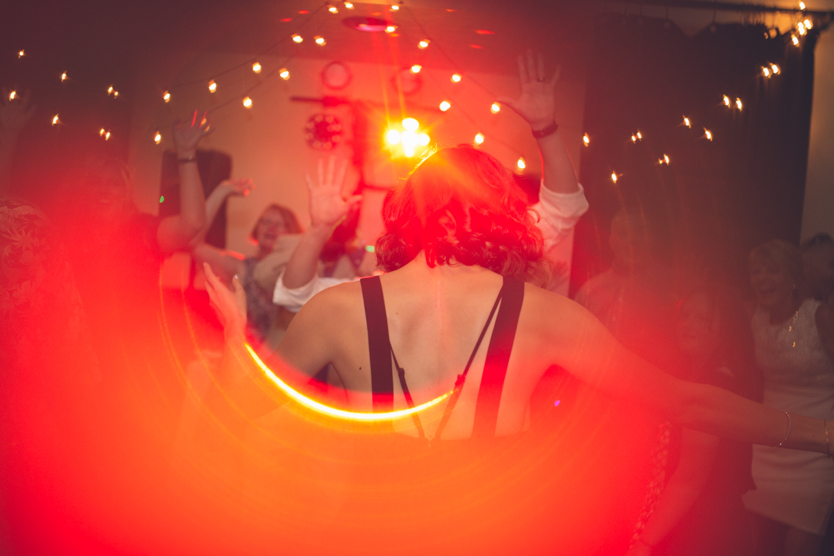 fun dancing photo with red ring light