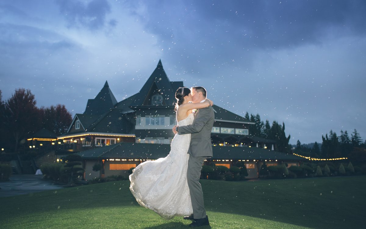stunning portraits of bride and groom in the rain
