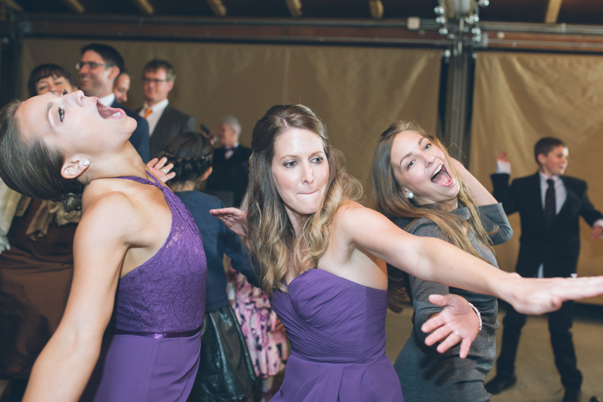 bridesmaids being silly on dance floor