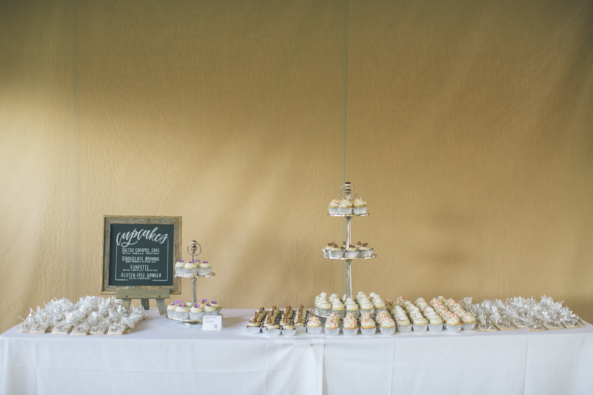 simple cupcake table at wedding reception