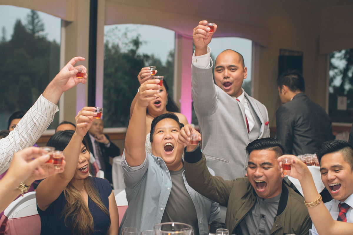 asian wedding table getting with liquor