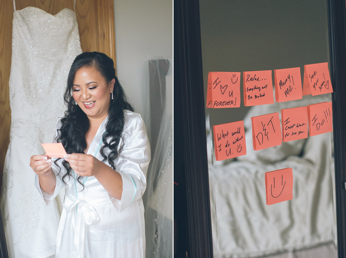 bride reads special wedding notes from groom