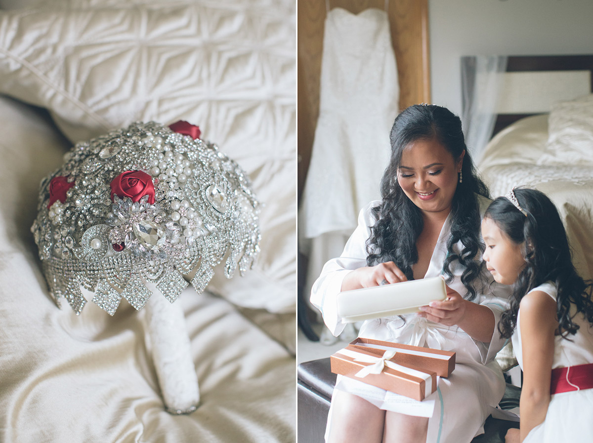 flower girl helps bride get ready for wedding