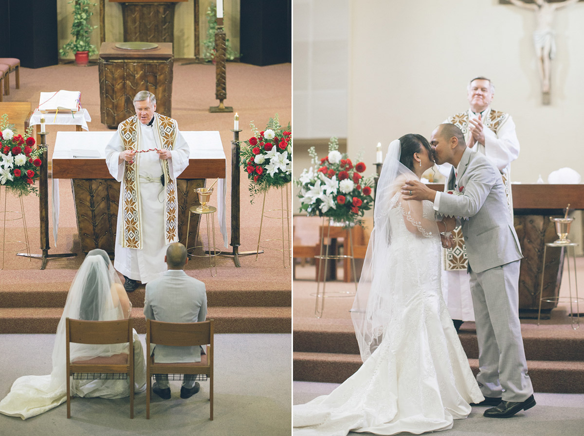 filipino catholic church wedding first kiss