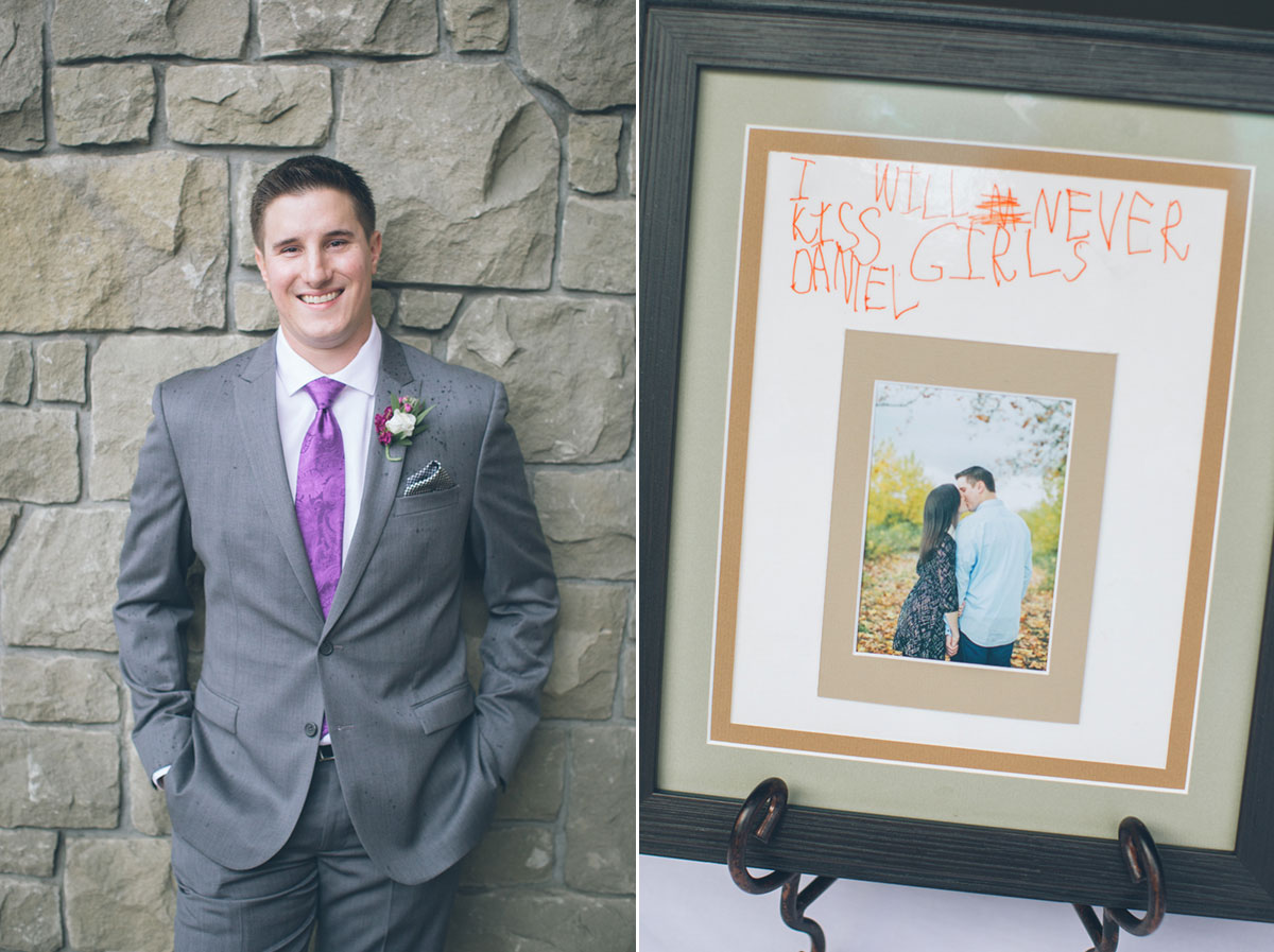 grooms portrait with cute sign