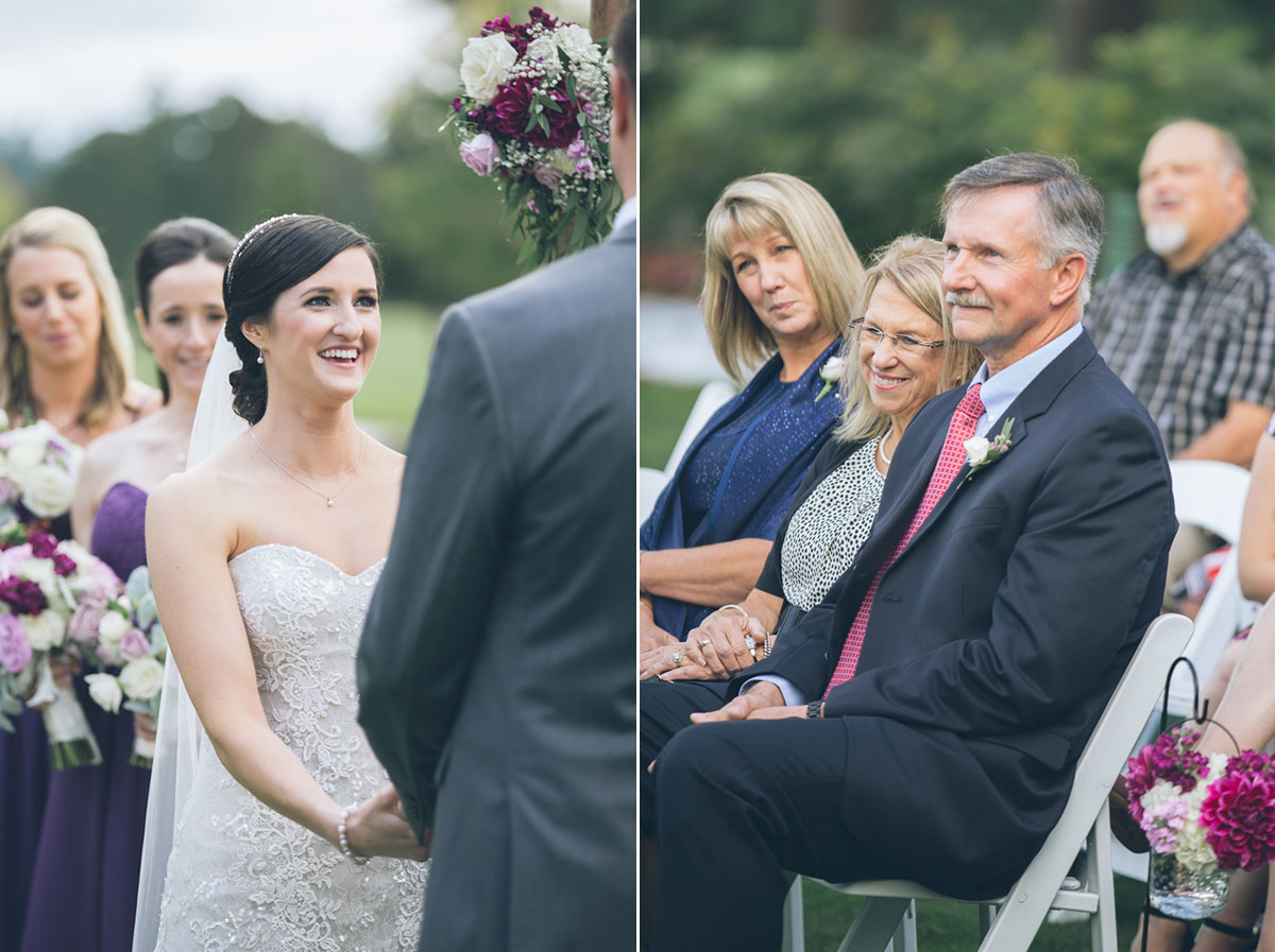 parents of groom smiling at wedding ceremony
