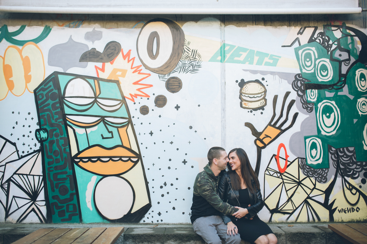 cute engagement pictures with graffiti