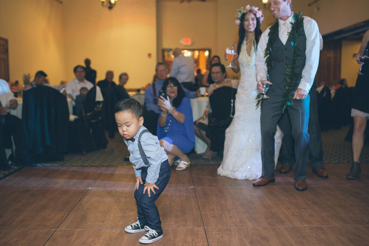 cute little wedding guest dancing