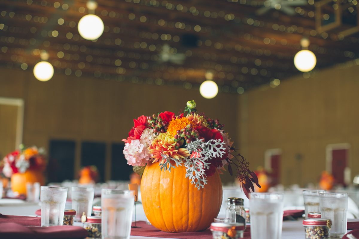 fall season oregon wedding with pumpkins
