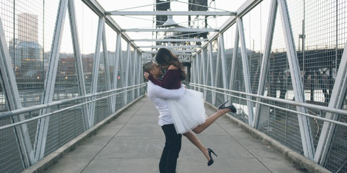 portland bridge engagement pics