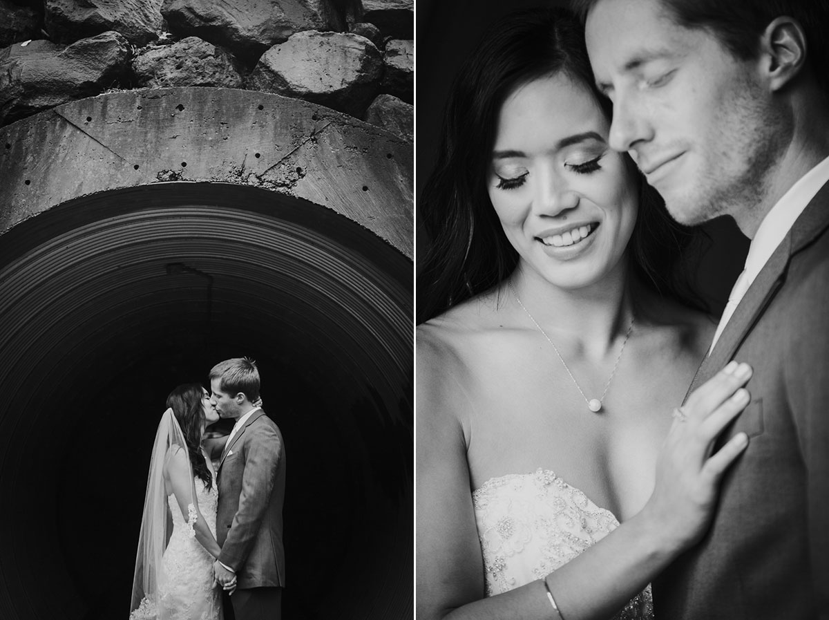 bride and groom portraits in tunnel
