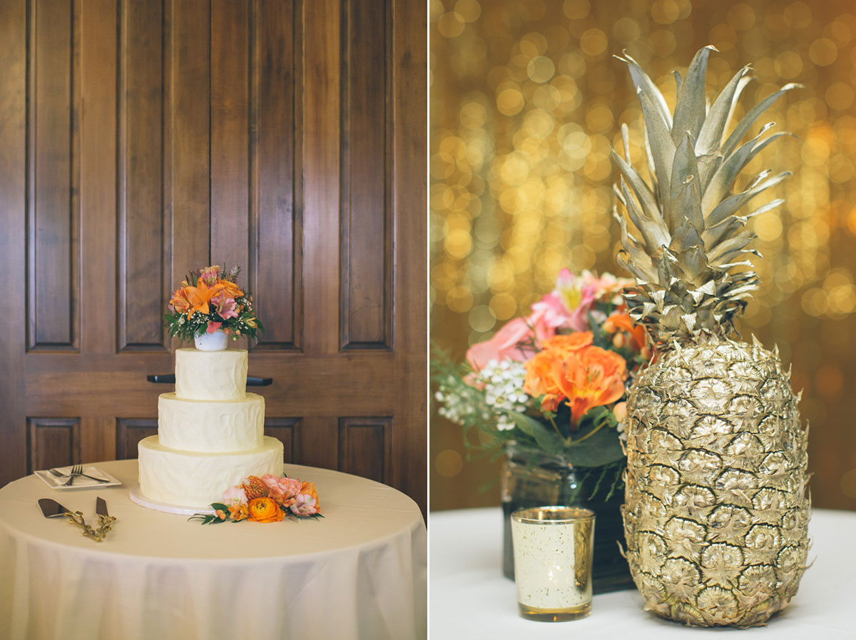 wedding decorations with gold pineapple