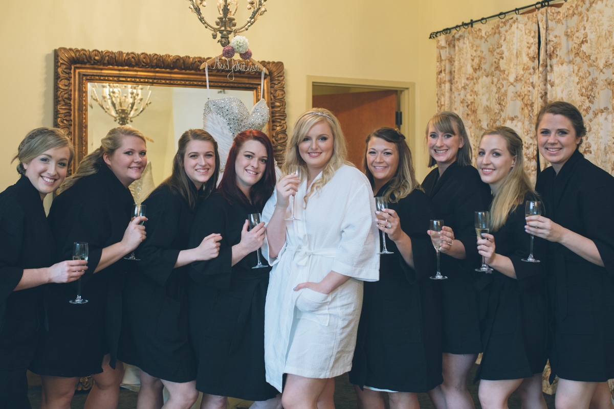 brides and bridesmaids in robes