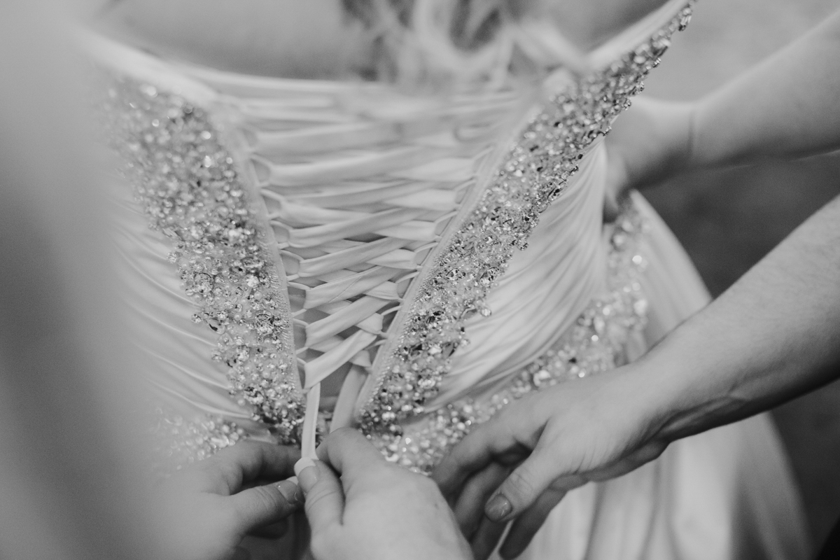 close up of back of bride's dress