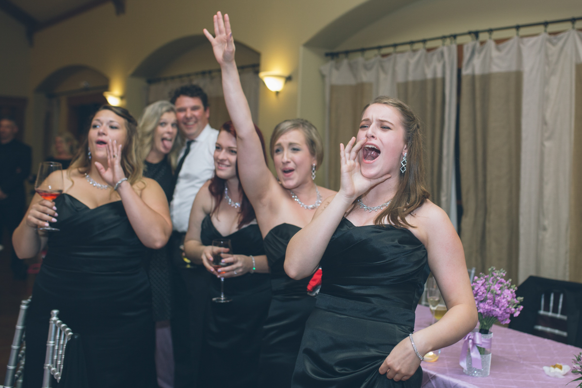 bridesmaids cheering