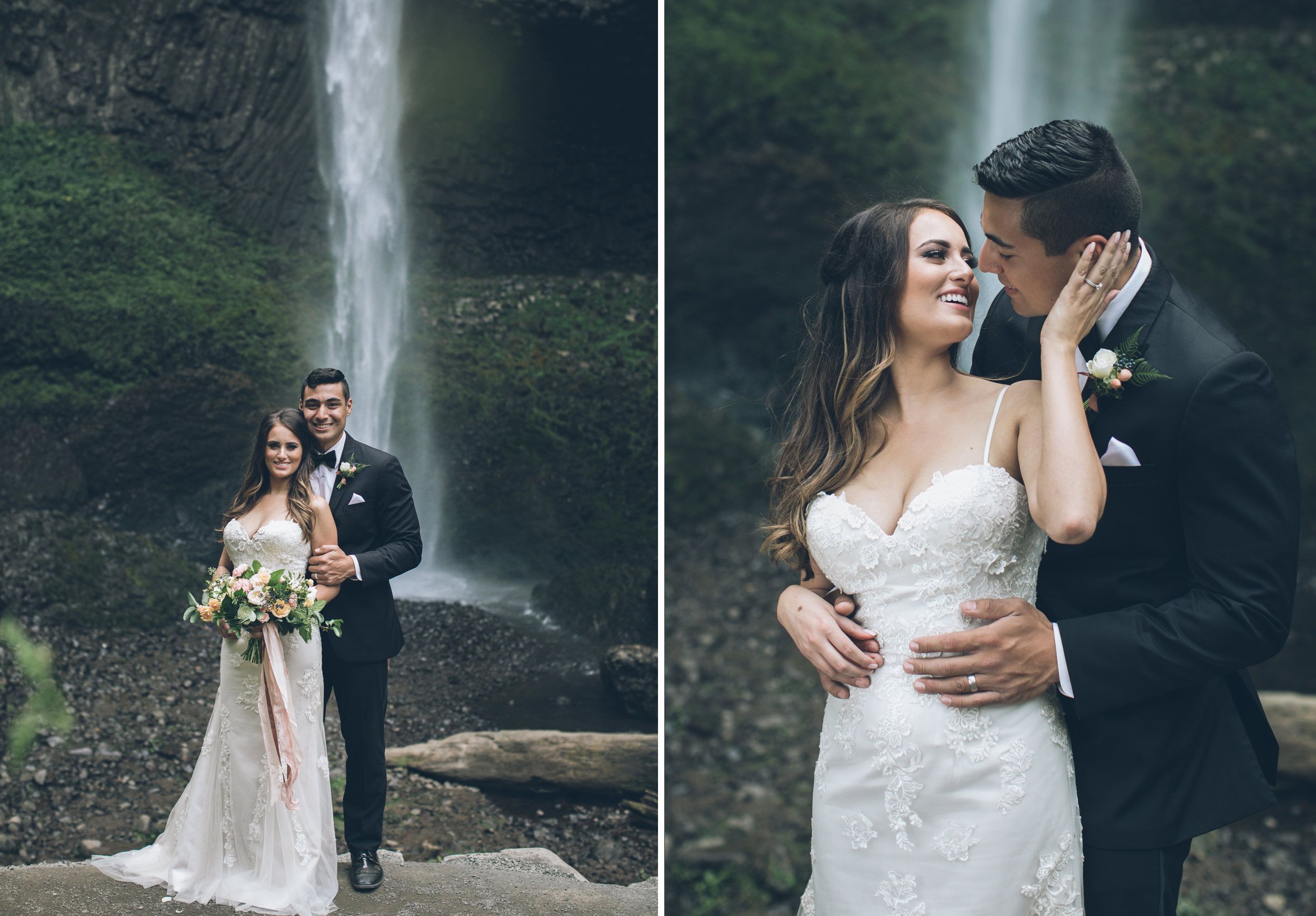 elope in oregon portland elopement waterfall latourell falls