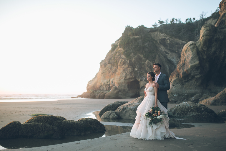 Hug Point Oregon Beach Wedding Sunset Shoot